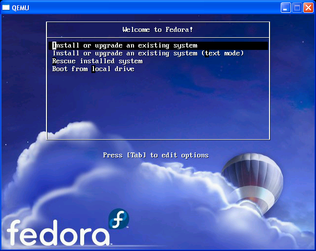 Tela inicial do Fedora