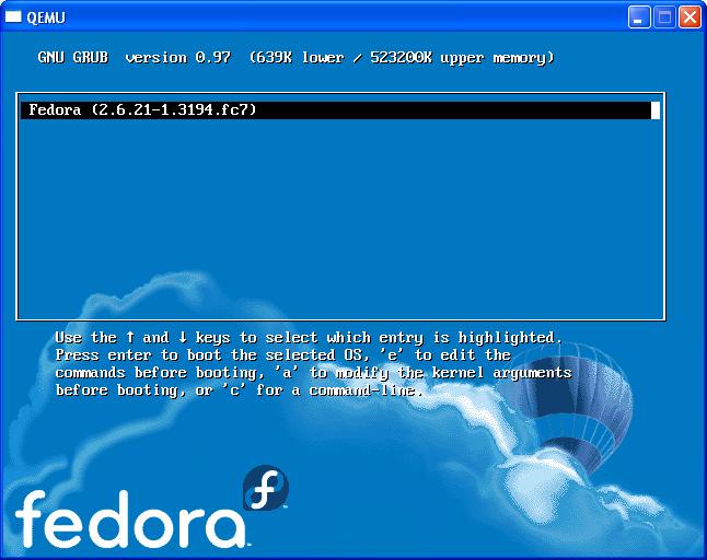 Inicio do Fedora.
